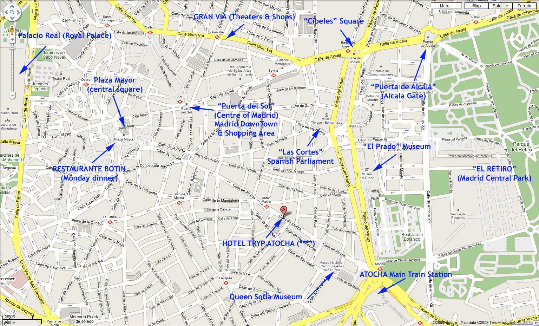 Centro De Madrid Mapa.Mapa Del Centro De Madrid Mapa De La Central De Madrid