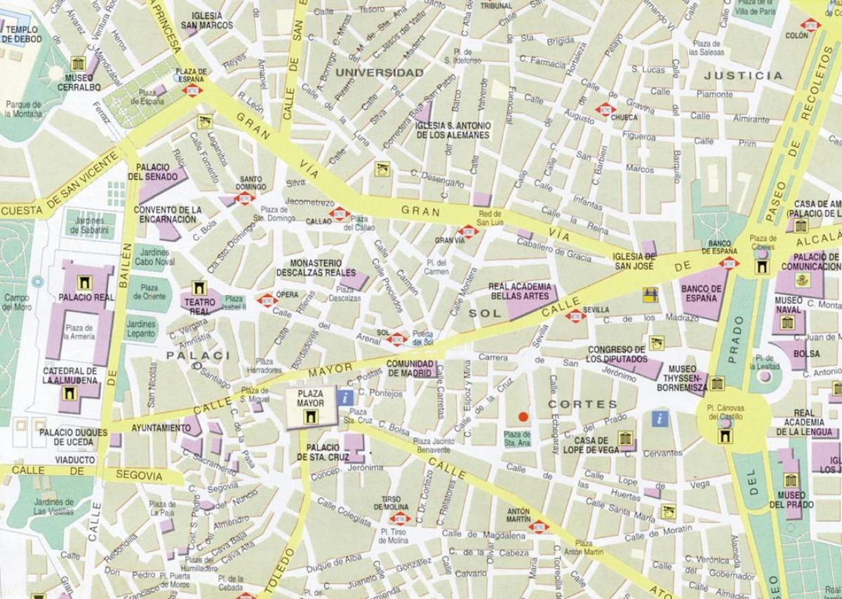 Centro De Madrid Mapa.El Centro De Madrid Mapa Mapa Del Centro De Madrid Espana